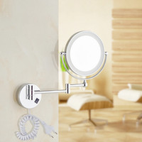 """Wholesale Make Up Mirror Magnifying - Free Shipping 8""""LED light Wall Mounted Round Magnifying Mirror LED Makeup Mirror battery make up lady's private mirrors"""