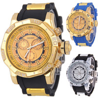 Wholesale Mens Watch Faces Wholesale - Hip Hop Punk Style Quartz Luxury Watch Top Brand Military Army Mens Watches Gold Tone Big Face Male Boys Sport Wrist Watches relogio