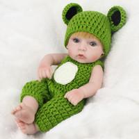 frosch baby kleidung großhandel-11 Zoll reborn Baby Boy Puppe Simulation von weichen Puppenkindern wiedergeboren Baby Frog Kleidung mit Geburtstagsgeschenk Spielzeug