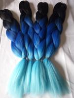 ombre tranchant les cheveux achat en gros de-New Sky Bleu Ombre Jumbo Tressage Cheveux Extensions En Vrac 5packs / lot 24