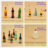 Wholesale Wholesale Plastic Milk Bottle - 1:12 Scale Dollhouse Miniatures Alcohol Bottles Soft Drinks Gallon Milk Lot 13 items