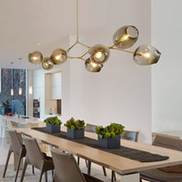 bolhas de vidro para iluminação venda por atacado-Lindsey Adelman globo pingente de vidro lâmpada Branching bolha Modern Chandelier Light para cozinha / café / loja de pano 3/5/7/8/9/11/13/15 cabeças