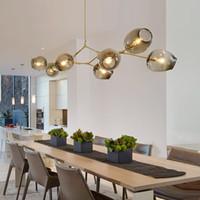 kabarcık kafaları toptan satış-Lindsey Adelman küre cam kolye lamba Dallanma Kabarcık Modern Avize Işık için mutfak / cafe / bez dükkanı 3/5/7/8/9/11/13/15 kafaları