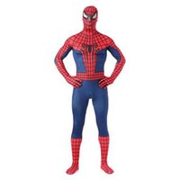 Wholesale sexy spiderman lycra costume xl - High Quality Classic Red and Blue Lycra Spandex Full body Spider-man Zentai Suit Spiderman Cosplay Sexy Costume Jumpsuit for Halloween