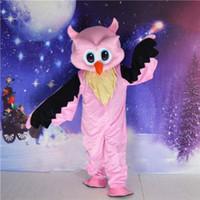 Wholesale Owl Fancy Dress - Halloween Big Pink Owl Mascot Costume Animal Costume Adults Party Fancy Dress