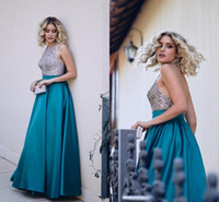 Wholesale Turquoise Red Purple Dress - Turquoise Blue Satin Backless Evening Dresses Halter Neck Sequins Beaded Floor Length Formal Evening Gowns Dark Red Black Prom Dresses