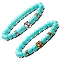Wholesale Turquoise Squares Bracelet - 2 Styles Turquoise Beads Bracelets With Square OM Natural 8mm Beaded Stone Charm Jewelry Punk Cuffs Bangles Turquoise Bracelet