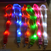 Wholesale Lanyard Lace - 100pcs LED Light Up Neck Strap Band Lanyard Key Chain ID Badge Hanging Lace Rope Mobile Phone Strapes Party Decoration