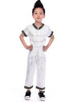 chinesisch bestickte kleidung großhandel-Shanghai Geschichte Chinesische traditionelle Stickerei Drachen Sets für Jungen chinesischen Stil Jungen Kung Fu Anzug Sets Kurzarm Wushu Kleidung