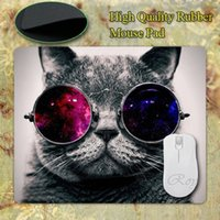 Wholesale Silicon Mouse - Wholesale-NEW Square Cat With Galaxy Glasses Thicken for Optical Silicon Mouse Pads 220mmX180mmx2mm Mat Mice Pad Drop Free Shipping