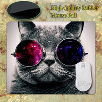 кремниевые мышки оптовых-Wholesale-NEW Square Cat With  Glasses Thicken for Optical Silicon Mouse Pads 220mmX180mmx2mm Mat Mice Pad Drop Free Shipping