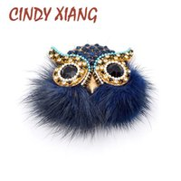 Wholesale Animal Fox Fur - CINDY XIANG Cute Fox Fur Brooches for Women Owl Brooch Pin Cute Animal Jewelry Punk Cool Accessories High Quality Jewelry Gift