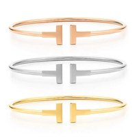 Wholesale T Steel Shaped - High quality luxury brand double T shaped cuff adjustable bangle bracelets for women men unisex in stainless steel rose gold silver gold