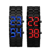 Wholesale Iron Samurai Led Watch Silver - Relogio Masculino 2017 New Arrival Watch Men 2x Lava Style Iron Samurai Black Bracelet LED Digital-watch square-male-watch Gift