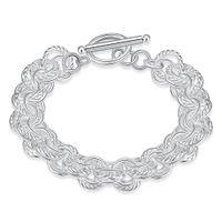 Wholesale Triple Bangle Charm Bracelet - 925 Sterling Silver Bracelets Chain Bangle Screw Fits European Charms Silver Beads 8inch Snake Silver Triple Bracelet Christmas Present