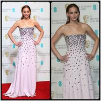 Wholesale Jennifer Lawrence Silver Dress - Vestidos Para Festa Jennifer Lawrence Red Carpet Celebrity Dresses Rhinestones Pink Luxury Long Evening Dress Prom Gown