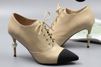 Wholesale pearl boots resale online - free ship u631 genuine leather cap toe pearl heel short boots vogue luxury designer