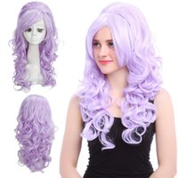 Renaissance medieval Marie Antoinette Cospaly Perucas Purple Long Curly Hair