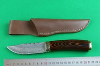 Wholesale Coolest Damascus Knife - Wholesale Damascus Fix blade hunting knife 57HRC Shadow wood handle Survial straight knife with leather sheath Cool knives