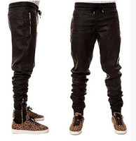 Wholesale Harem Leather - Nice Quality Faux Leather Biker Jogger Pants Men Golden Zipper Hippie Dancer Kanye PU Leather Trousers Harem Pants US Size Men