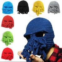 Wholesale funny skiing hats online - Unisex Men Women Funny Cap Octopus  Crochet Knitted Hat Ski f79fced04d4