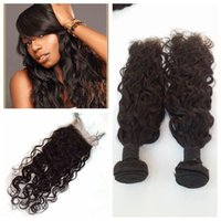 Wholesale Top Brazillian Hair Weave - Brazillian Water Wave With Lace Closure Brazilian Human Hair Top Closure 4X4'' With Bundles Wet and Wavy Human Hair Weaves G-EASY
