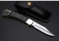 ingrosso rose piegate-High-end BK 110 auto coltello singola azione in ottone + manico in legno nero Coltello pieghevole Caccia campeggio all'aperto natale coltelli da regalo 1 pz