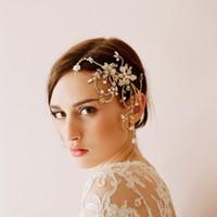 Wholesale honey bridal - Twigs & Honey Wedding Headpieces Hair Accessories Bridal Hair Comb With Pearls Crystals Women Hair Jewelry Bridal Headwear #HP0021