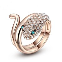 Jóias do vento coreano Rose Gold Plated Blue Snakes Ring Fashion Ladies Rings Gift