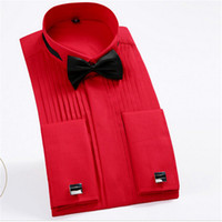 botón de camisa de manga larga negro al por mayor-Venta al por mayor-francés del botón del puño de los hombres camisas de vestir manga larga de los hombres camisas del smoking masculinas del novio de la boda camisas blanco negro