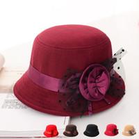 Wholesale Silver Wide Brim Hat - 2016 New Autumn and Winter Elegant Women's Fashion Cap Ladies Flower Lace Bucket Hat Women Small Fedoras Hat Cloche Headwear