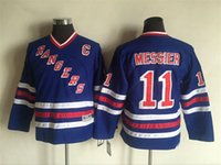 jersey boys new york al por mayor-¡Calidad superior! 2016 Youth Kids CCM New York Rangers Hockey sobre hielo Jerseys baratos # 11 Mark Messier Blue Boys Jerseys Auténticos Retro Jerseys