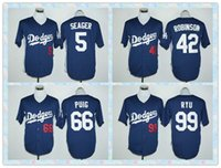 Veloce Uomini Los Angeles Dodgers 2016 di baseball Jersey # 5 Corey Seager # 42 Jackie Robinson # 66 Yasiel Puig # 99 Hyun-Jin Ryu pullover blu