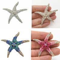 Wholesale Wholesale Starfish Brooch Pin - Stunning Crystals Big Lovely Starfish Brooch Clear Crystal Blue Pink Green Red Crystals Women Scarf Pins