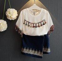 Wholesale Demin Shorts Kids - Summer Vintage Girls Clothing Set Kids Short Sleeve Tassel White Tops Blouse + Embroidery Demin Skirt 2pcs Children Outfits 12011