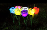 7 Cor LED Tulip Flower Solar Path Tulip Flower luz ao ar livre Quintal Garden Way Solar Power