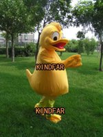 Wholesale Duck Costume Outfit Mascot - Wholesale-New Yellow duck Mascot Costume Adult Halloween Cartoon Party Outfits Fancy Dress Free Shipping