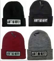 Wholesale Beanie Wifey - Designer AIN T NO WIFEY Letter Embroidery Hip Hop Knitted Slouchy Beanies Hat Skull Word Sports Snow Cap Hair Bonnets Acrylic Head Warmer