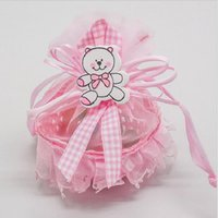 Discount baby box wholesalers - 48pcs Pink Gir Baby Brithday Gift Bags Candy Box Fruit Basket Baby Shower Favors Boxes and Bags Souvenirs Wedding Decoration Gifts for Guest