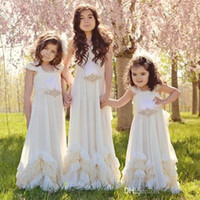 Wholesale flowered chiffon gowns resale online - Cheap Pretty Backless Flower Girls Dresses For Summer Boho Weddings Sleeveless Dollcake First Communion Dress Floor Length Pageant Gowns