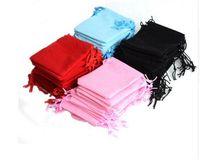 sacos de cordão rosa jóia venda por atacado-100 Pcs Saco de Cordão de Natal Rosa Veludo Saco De Veludo Bolsa De Jóias 7X9 cm Sacos de Presente Fontes Do Partido