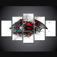 More Panel painting acrylic sheet - 5 Set No Framed HD Printed Batman Vs Superman Movie Painting Canvas Print room decor print poster picture canvas acrylic paint set