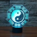 Wholesale Eight Ball - 2017 New Design THE EIGHT DIAGRAMS 3D Optical Lamp Night Light 9 LEDs Night Light DC 5V Colorful 3D Lamp