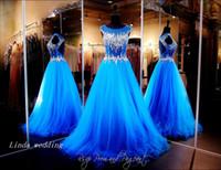 ingrosso i vestiti di cristallo bling aprono le spalle-Royal Blue Open Back Prom Dress Sparkly Bling Crystal Perline Piano Lunghezza Abito da cerimonia formale lungo