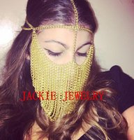 Wholesale Sexy Head Jewelry - Wholesale- FREE SHIPPING NEW STYLE B706 Women Gold Chains Sexy Layers Face Head Chains Unique Design Mask Chains Jewelry 3 Colors