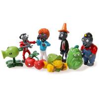 conjuntos de juguetes de plantas vs zombies al por mayor-Envío Gratis 8 unids / set Plants vs. Zombies Toys Bucket Zombie 5-8cm PVC Figuras de Acción E1087