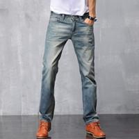 Wholesale denim capris for men - Male new pure cotton denim straight pants retro vintage fashion simple suitable slim fit casual jeans trousers for men size 28-38