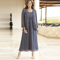 Wholesale make shirts free for sale - Gray Chiffon Mother Of The Bride Dresses Short Square Collar Plus Size Evening Gowns Tea Length Custom Made Free Jacket