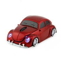 Wholesale Hot Beetles - Wireless Mouse Sports Car Shaped 2.4Ghz Optical VW Beetle Car Mice Mause 1600DPI For PC Laptop Computer Hot Sale