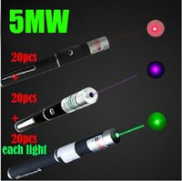 5mw 532nm Laser Pointer Pen 20 Green + 20 Red + 20 Violet Blue Mixed Light Beam Laser Pen Para Ensino de caça freeshipping DHL
